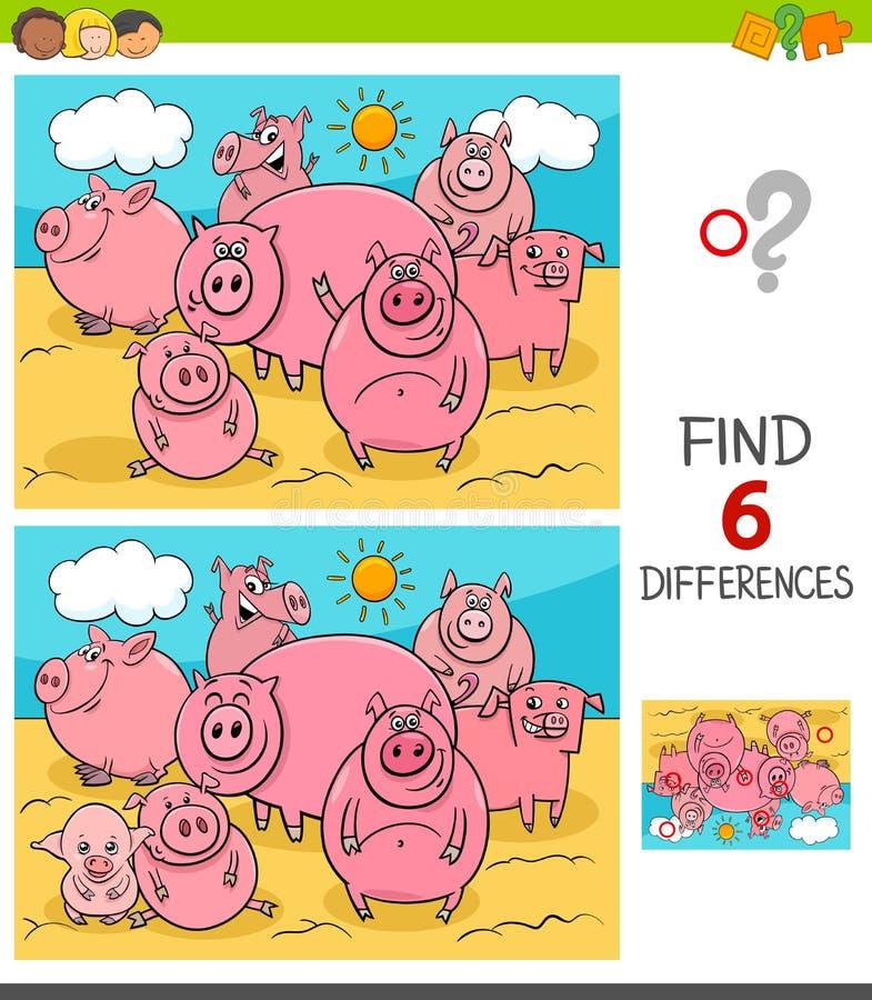 Παιχνίδι διαφορών με τα ζώα αγροκτημάτων χοίρων ελεύθερη απεικόνιση δικαιώματος