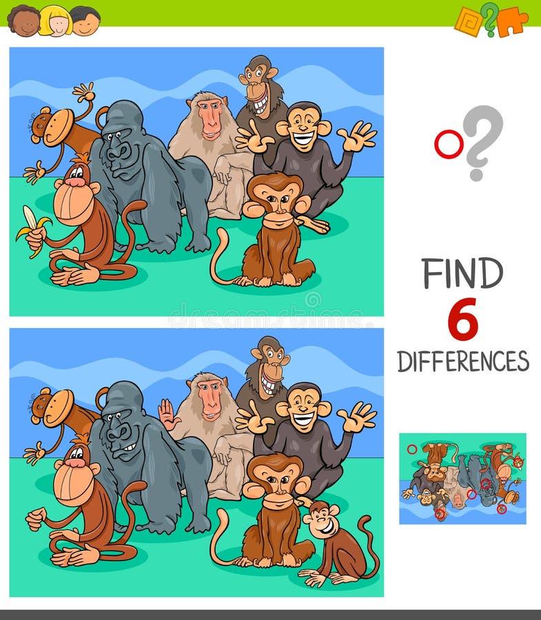 Παιχνίδι διαφορών με τους ζωικούς χαρακτήρες πιθήκων απεικόνιση αποθεμάτων