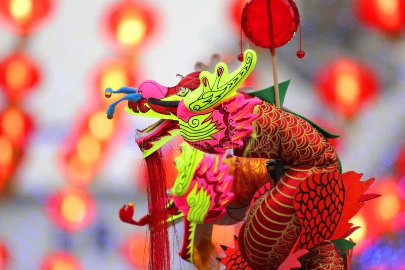 Παιχνίδι δράκων για τα παιδιά στο κινεζικό νέο έτος στοκ εικόνες με δικαίωμα ελεύθερης χρήσης