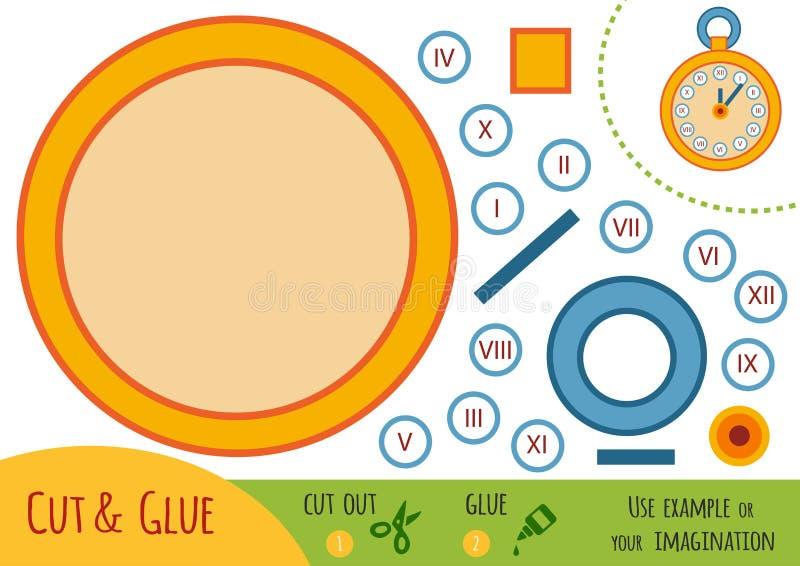 Παιχνίδι εγγράφου εκπαίδευσης για τα παιδιά, ρολόι τσεπών απεικόνιση αποθεμάτων