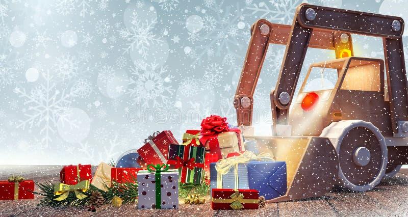 Παιχνίδι εκσκαφέων με τα χριστουγεννιάτικα δώρα διανυσματική απεικόνιση
