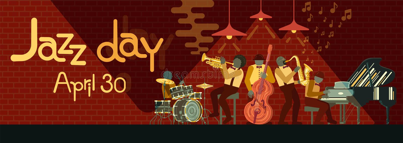 Παιχνίδι ζωνών της Jazz στο πιάνο, το saxophone, τις διπλός-πέρκες, την κορνέτα και τα τύμπανα οργάνων musicail στο φραγμό της Ja ελεύθερη απεικόνιση δικαιώματος