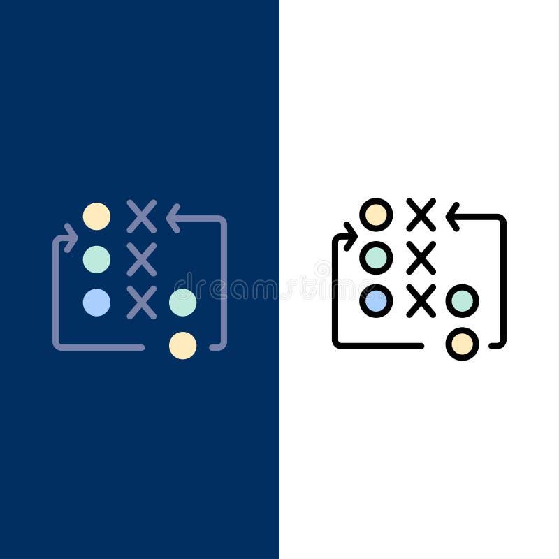 Παιχνίδι, κίνηση, στρατηγική, τακτική, τακτικά εικονίδια Επίπεδος και γραμμή γέμισε το καθορισμένο διανυσματικό μπλε υπόβαθρο εικ ελεύθερη απεικόνιση δικαιώματος