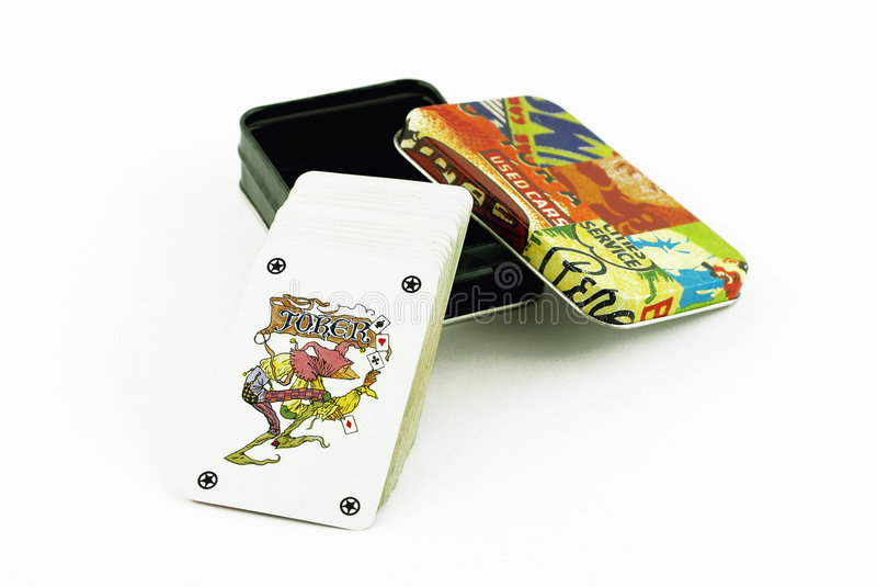 παιχνίδι καρτών κιβωτίων στοκ εικόνες