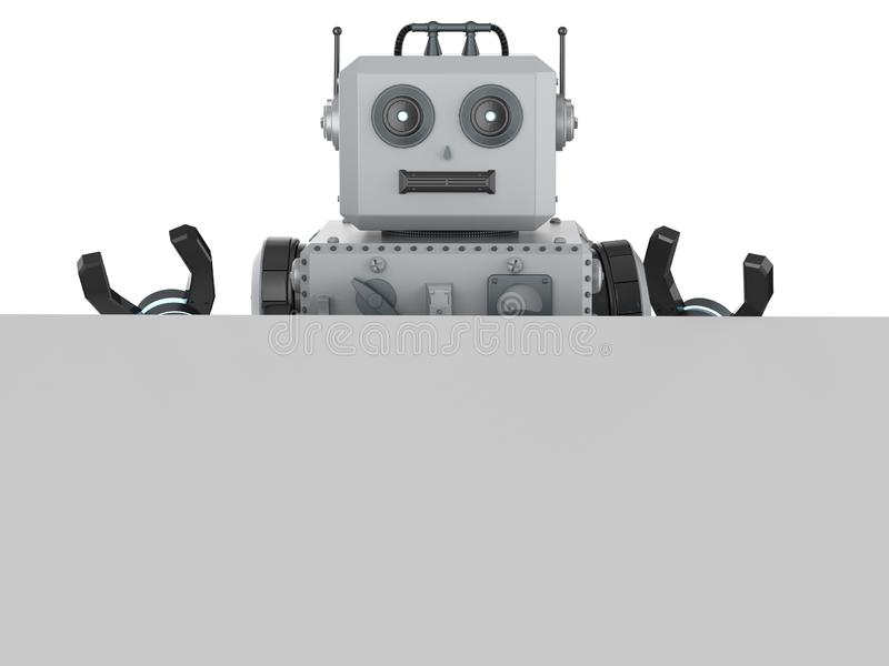 Παιχνίδι κασσίτερου ρομπότ με το άσπρο κενό έγγραφο απεικόνιση αποθεμάτων