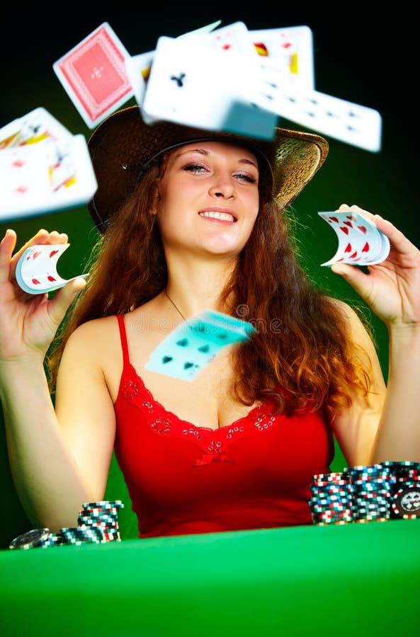 παιχνίδι κοριτσιών καρτών στοκ φωτογραφίες