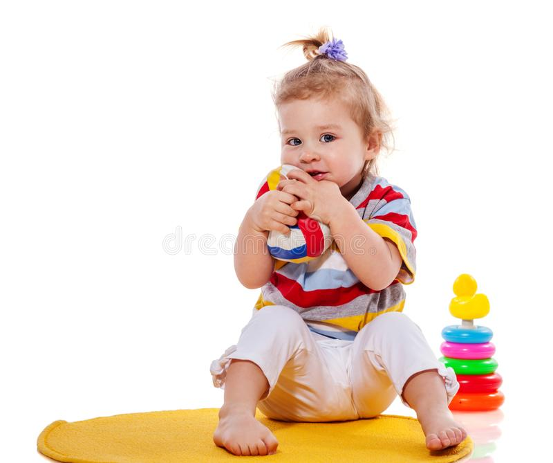 Παιχνίδι κοριτσιών μικρών παιδιών στοκ εικόνα
