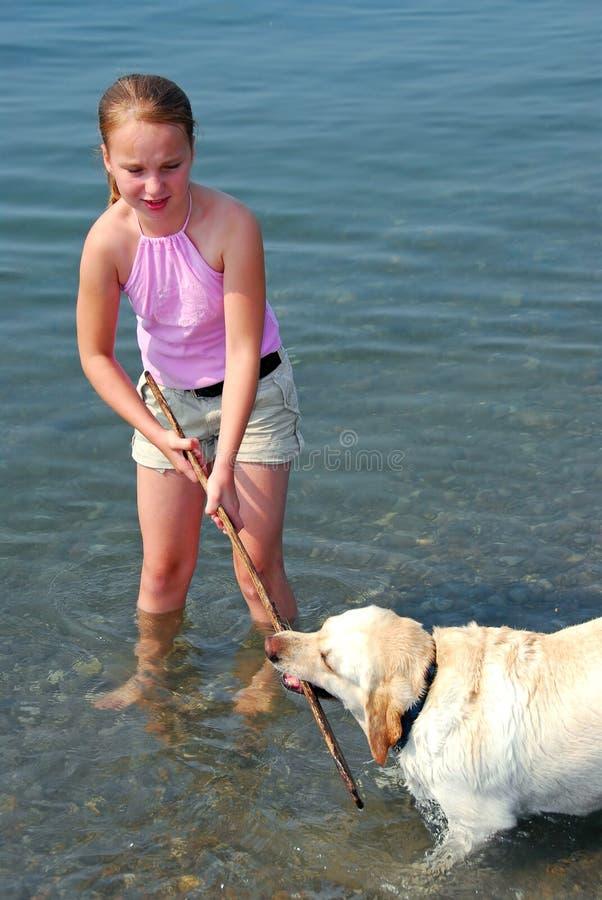 παιχνίδι κοριτσιών σκυλιών στοκ φωτογραφία με δικαίωμα ελεύθερης χρήσης