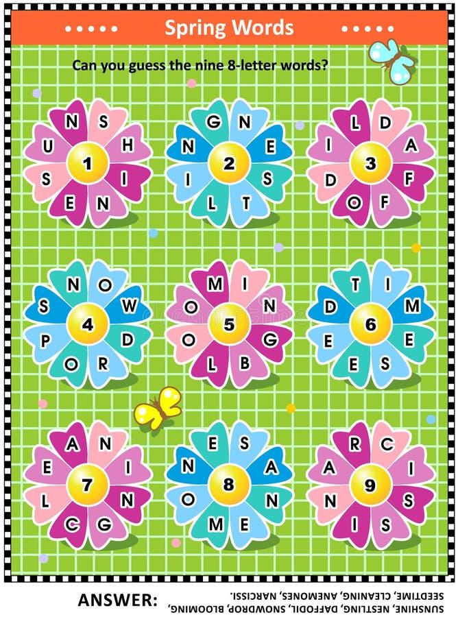 Παιχνίδι λέξης άνοιξης ή καλοκαιριού με τις στρογγυλές λέξεις στα πέταλα λουλουδιών ελεύθερη απεικόνιση δικαιώματος