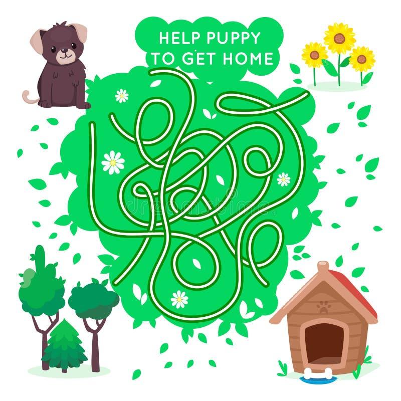 Παιχνίδι λαβυρίνθου για τα παιδιά Βοηθήστε το μικρό κουτάβι για να πάρετε το σπίτι Σκυλί και σκυλόσπιτο Διανυσματικός χαριτωμένος ελεύθερη απεικόνιση δικαιώματος