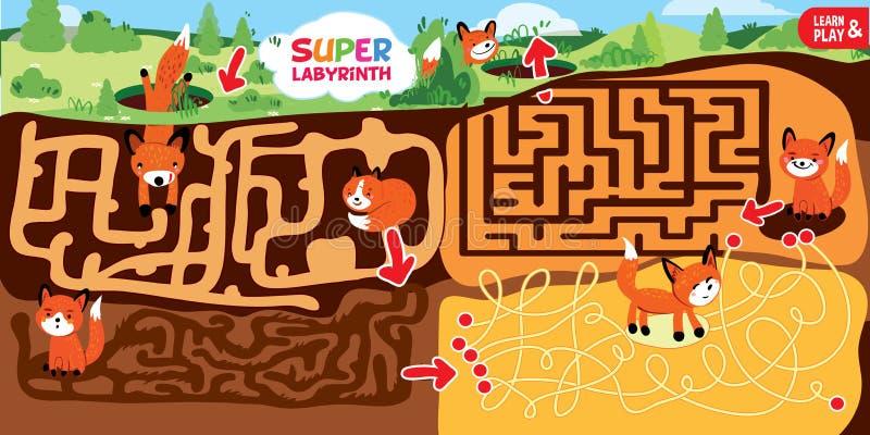 Παιχνίδι λαβυρίνθου γρίφων για τα παιδιά Ο έξοχος λαβύρινθος αποτελείται διάφορα στάδια υπόγεια Η αλεπού βοήθειας παίρνει από την διανυσματική απεικόνιση