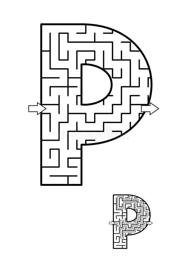 Παιχνίδι λαβυρίνθου γραμμάτων Π για τα παιδιά διανυσματική απεικόνιση