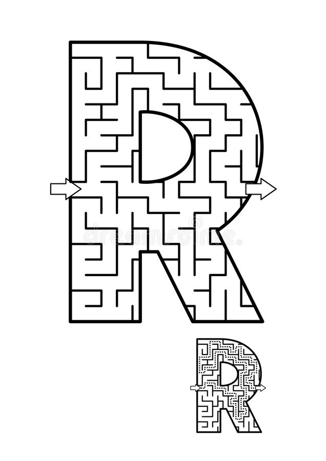 Παιχνίδι λαβυρίνθου γραμμάτων Ρ για τα παιδιά διανυσματική απεικόνιση