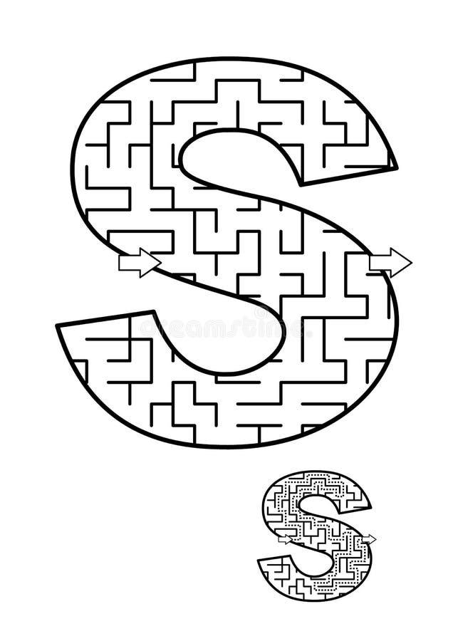 Παιχνίδι λαβυρίνθου γραμμάτων S για τα παιδιά ελεύθερη απεικόνιση δικαιώματος