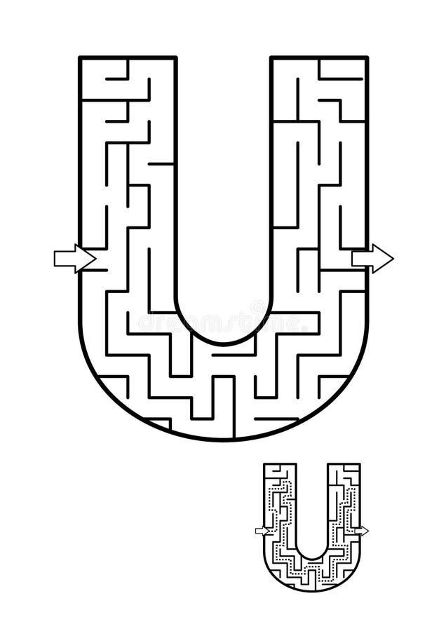 Παιχνίδι λαβυρίνθου γραμμάτων U για τα παιδιά διανυσματική απεικόνιση