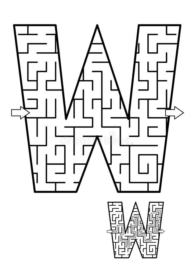 Παιχνίδι λαβυρίνθου γραμμάτων W για τα παιδιά απεικόνιση αποθεμάτων