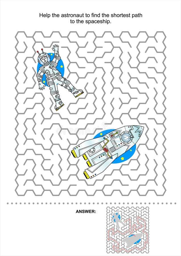 Παιχνίδι λαβυρίνθου εξερεύνησης του διαστήματος για τα κατσίκια διανυσματική απεικόνιση