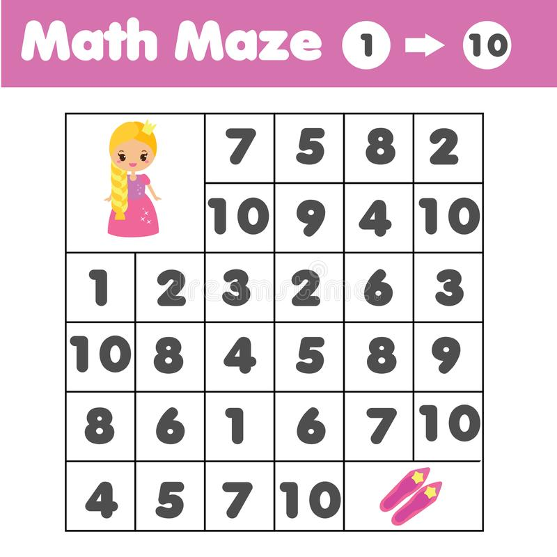 Παιχνίδι λαβυρίνθου, θέμα ζώων Φύλλο δραστηριότητας παιδιών Λαβύρινθος μαθηματικών με τους αριθμούς Υπολογισμός από το ένα έως δέ διανυσματική απεικόνιση