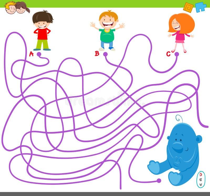 Παιχνίδι λαβυρίνθου με τα παιδιά και το παιχνίδι βελούδου ελεύθερη απεικόνιση δικαιώματος