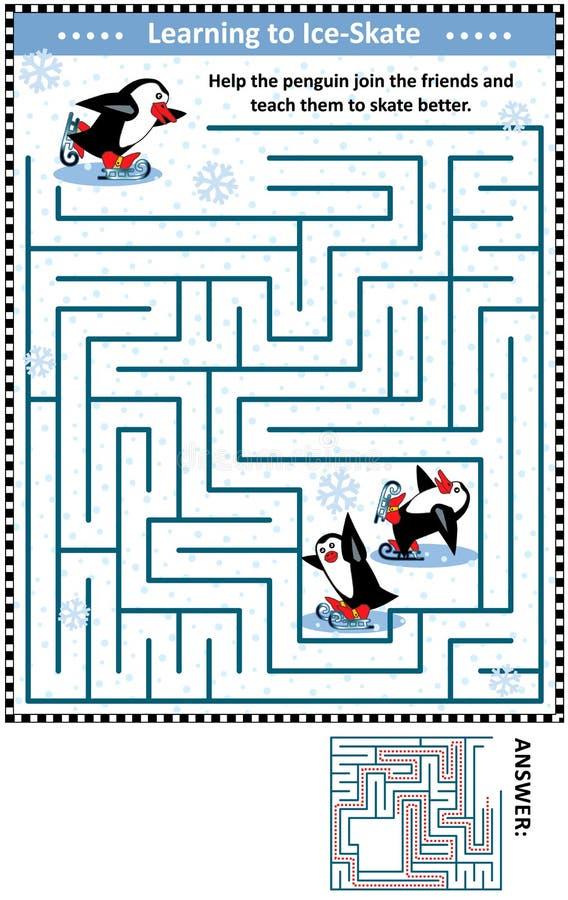 Παιχνίδι λαβυρίνθου με τα penguins που μαθαίνουν στο σαλάχι πάγου ελεύθερη απεικόνιση δικαιώματος