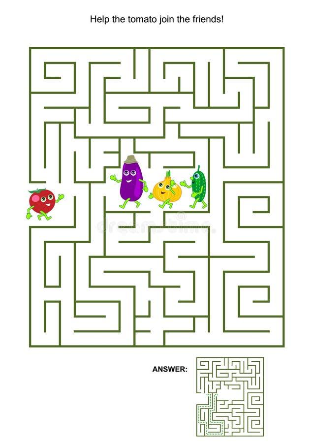 Παιχνίδι λαβυρίνθου με την ντομάτα και τους φυτικούς φίλους του διανυσματική απεικόνιση