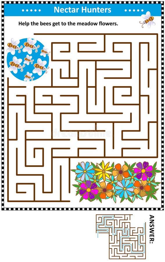 Παιχνίδι λαβυρίνθου με τις μέλισσες και τα λουλούδια ελεύθερη απεικόνιση δικαιώματος