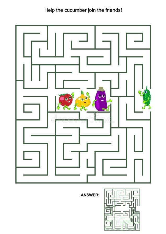 Παιχνίδι λαβυρίνθου με το αγγούρι και τους φυτικούς φίλους του ελεύθερη απεικόνιση δικαιώματος