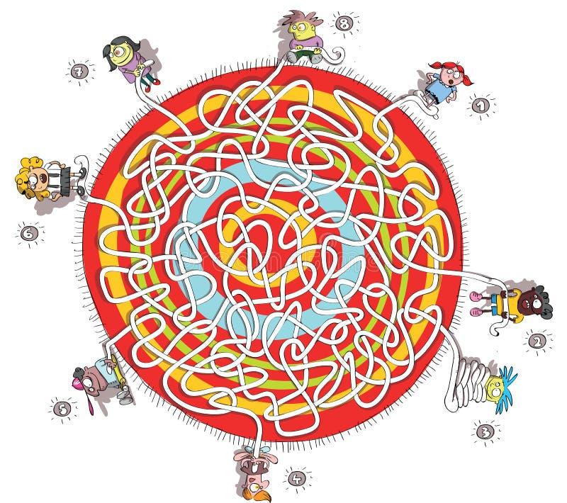 Παιχνίδι λαβυρίνθου οκτώ παιδιών ελεύθερη απεικόνιση δικαιώματος