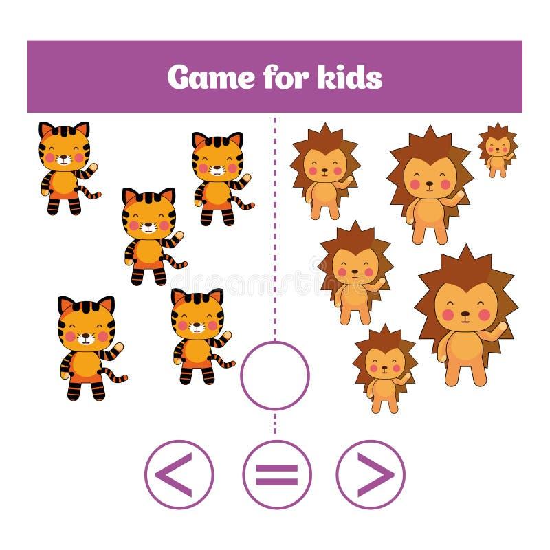 Παιχνίδι λογικής εκπαίδευσης για τα προσχολικά παιδιά Επιλέξτε τη σωστή απάντηση Περισσότεροι, λιγότεροι ή ίσος; Διανυσματική απε απεικόνιση αποθεμάτων