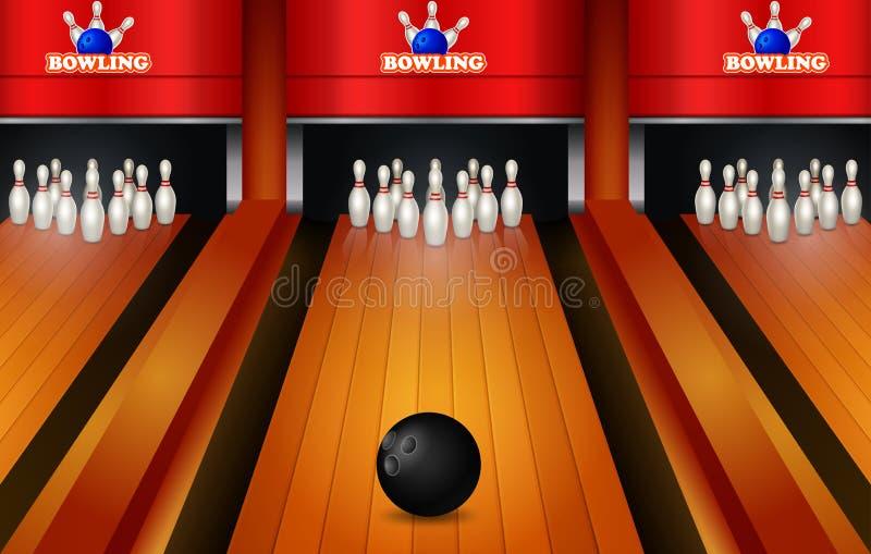 Παιχνίδι μπόουλινγκ με την πάροδο δέκα μπόουλινγκ καρφίτσες και σφαίρα ρεαλιστικές διανυσματική απεικόνιση