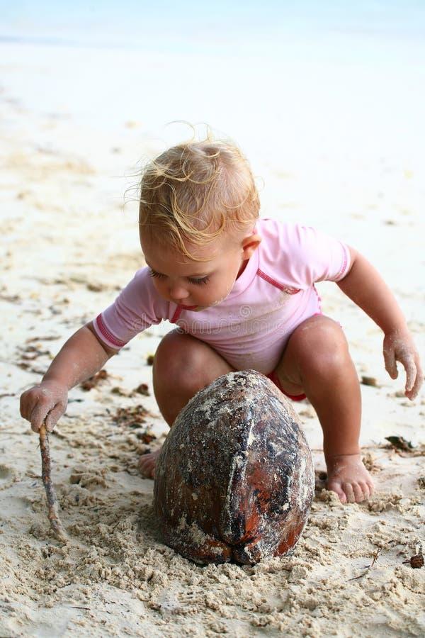 Παιχνίδι μωρών με την καρύδα στοκ εικόνες