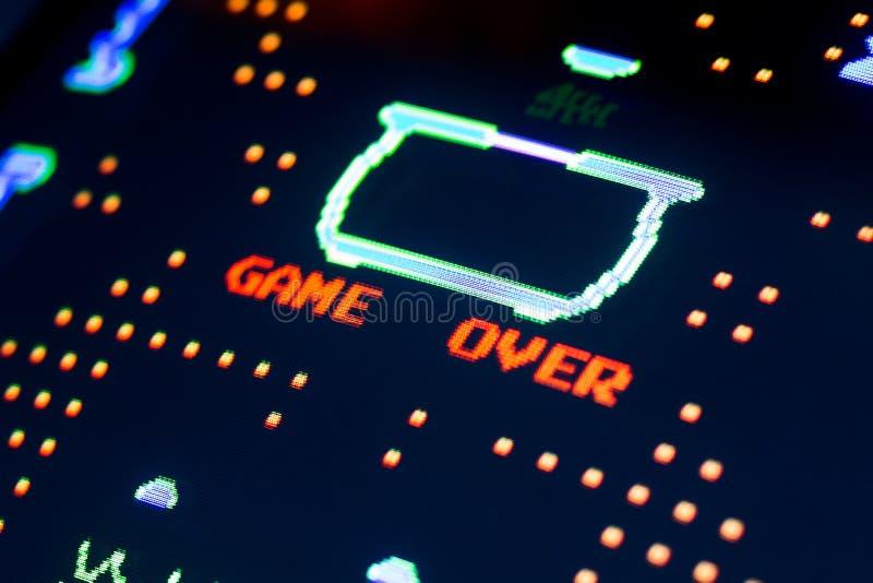 Παιχνίδι πέρα από την εκλεκτής ποιότητας οθόνη στο τέλος ενός παιχνιδιού στοκ εικόνες
