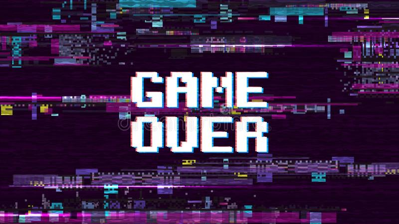 Παιχνίδι πέρα από το φανταστικό υπόβαθρο υπολογιστών με δυσλειτουργίας διανυσματική οθόνη επίδρασης θορύβου την αναδρομική διανυσματική απεικόνιση