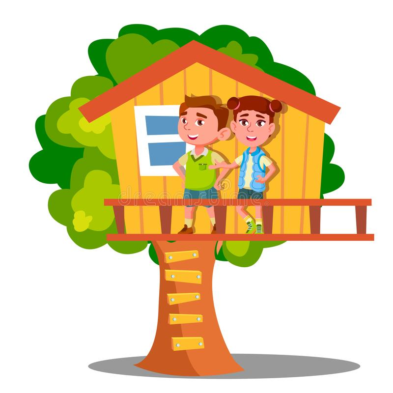 Παιχνίδι παιδιών αγοριών και κοριτσιών στο διάνυσμα σπιτιών δέντρων απομονωμένη ωθώντας s κουμπιών γυναίκα έναρξης χεριών απεικόν ελεύθερη απεικόνιση δικαιώματος