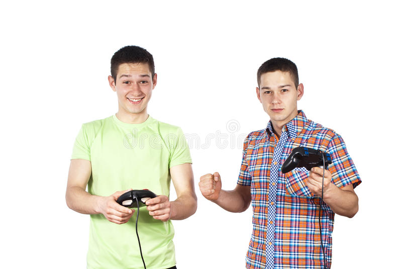 παιχνίδι παιχνιδιών στον υπολογιστή αγοριών στοκ εικόνες
