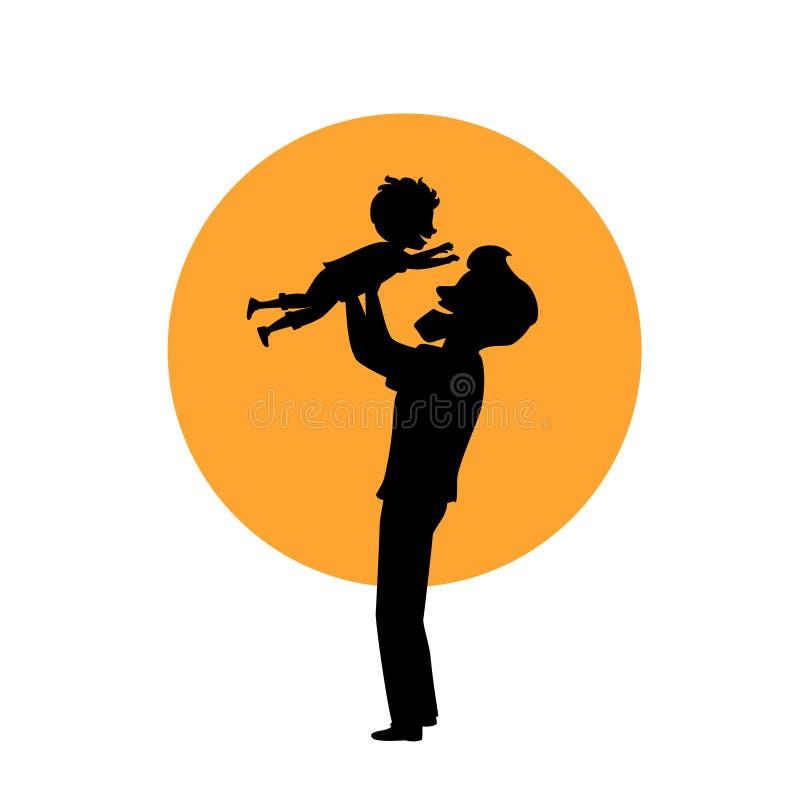 Παιχνίδι πατέρων και γιων, μπαμπάς που ανυψώνει επάνω το αγόρι στον αέρα, απομονωμένη διανυσματική σκιαγραφία απεικόνισης ελεύθερη απεικόνιση δικαιώματος