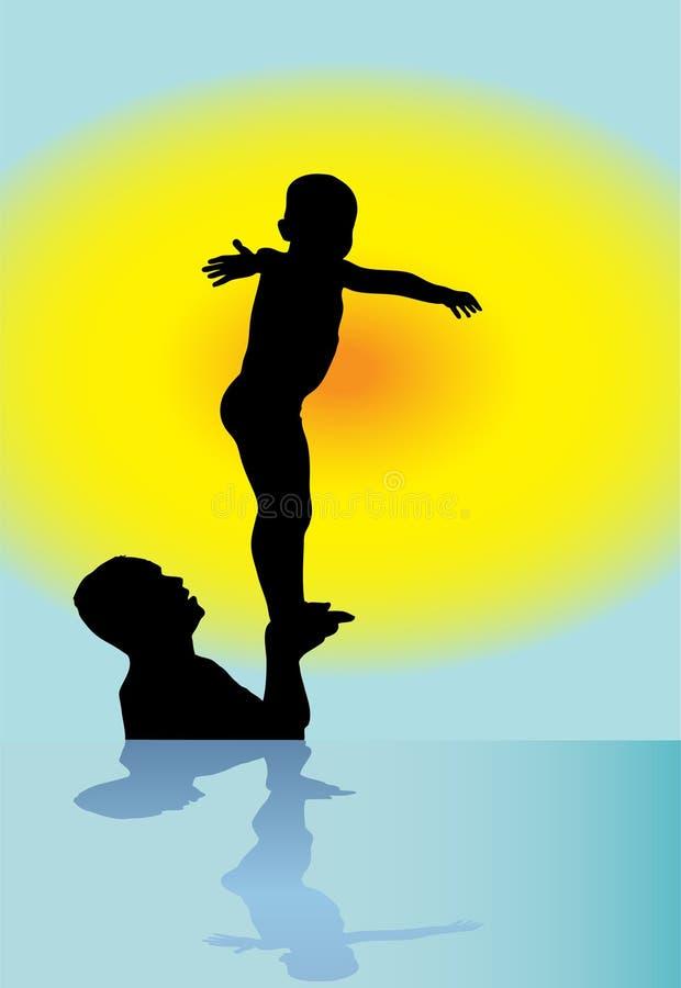 Παιχνίδι πατέρων και γιων στο ηλιοβασίλεμα ελεύθερη απεικόνιση δικαιώματος