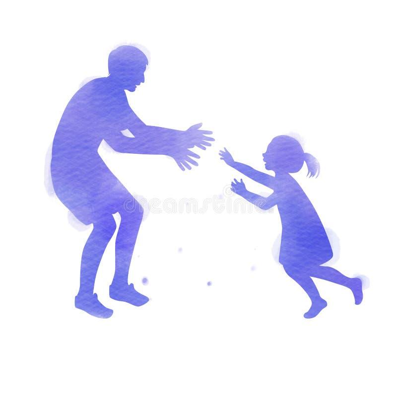 Παιχνίδι πατέρων με τη σκιαγραφία κορών του συν το αφηρημένο watercolor που χρωματίζεται Ημέρα του ευτυχούς πατέρα Αθλητισμός και απεικόνιση αποθεμάτων