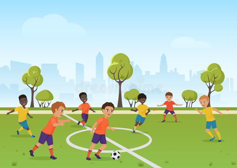 Παιχνίδι ποδοσφαίρου παιδιών Αγόρια που παίζουν το ποδόσφαιρο ποδοσφαίρου στον τομέα σχολικού αθλητισμού η αλλοδαπή γάτα κινούμεν διανυσματική απεικόνιση