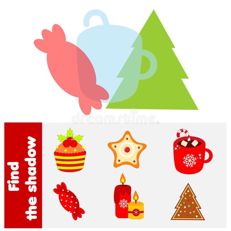 Παιχνίδι που ταιριάζει με τις σκιές Βρείτε σιλουέτες με χριστουγεννιάτικα δώρα Δραστηριότητα εκπαιδευτικών παιδιών Θέμα διακοπών  διανυσματική απεικόνιση