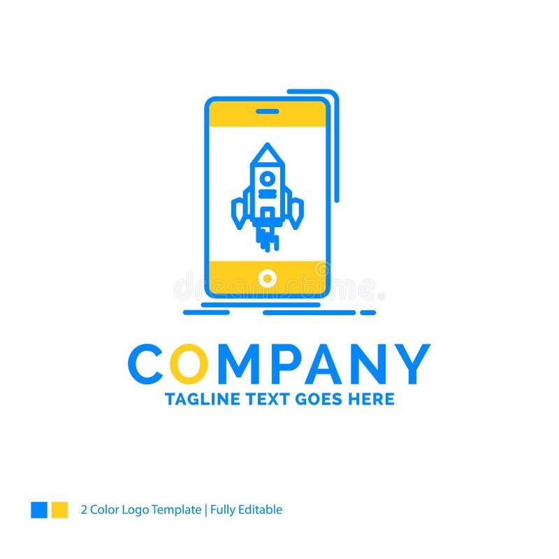 παιχνίδι, τυχερό παιχνίδι, έναρξη, κινητός, λογότυπο τηλεφωνικών μπλε κίτρινο επιχειρήσεων tem ελεύθερη απεικόνιση δικαιώματος