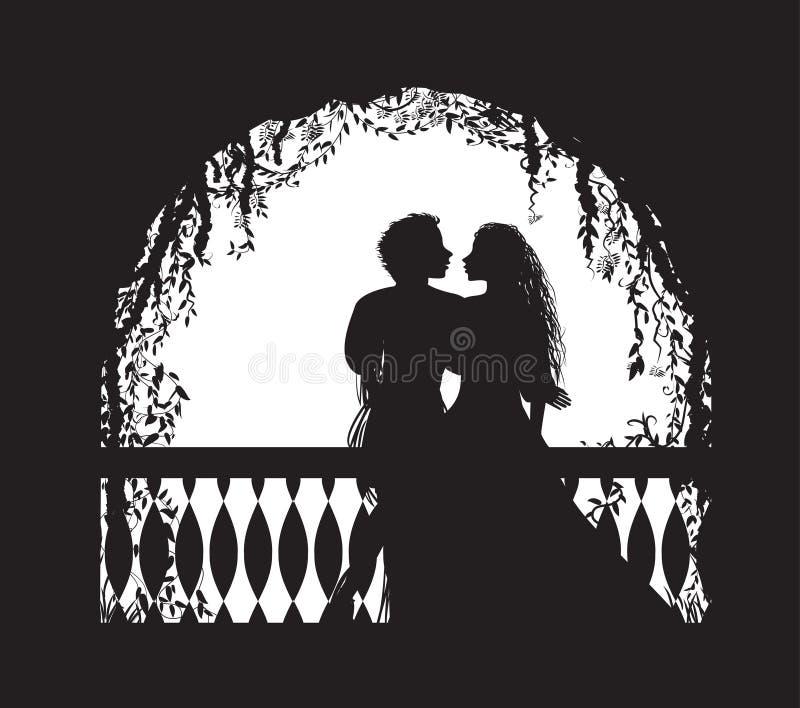 Παιχνίδι Romeo και Juliet στο μπαλκόνι, ρομαντική ημερομηνία, σκιαγραφία, ιστορία αγάπης Shakespeare s, διανυσματική απεικόνιση