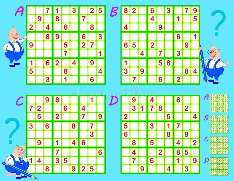 Παιχνίδι Sudoku λογικής Σύνολο γρίφων Φύλλο εργασίας για τα παιδιά και τους ενηλίκους διανυσματική απεικόνιση