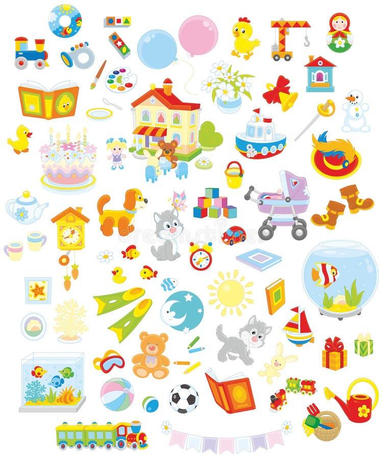 Παιχνίδια, ζώα και βιβλία ελεύθερη απεικόνιση δικαιώματος