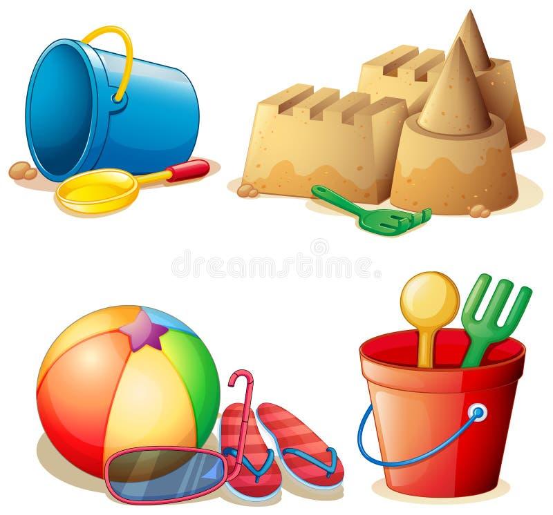 Παιχνίδια κάδων και κάστρο άμμου ελεύθερη απεικόνιση δικαιώματος