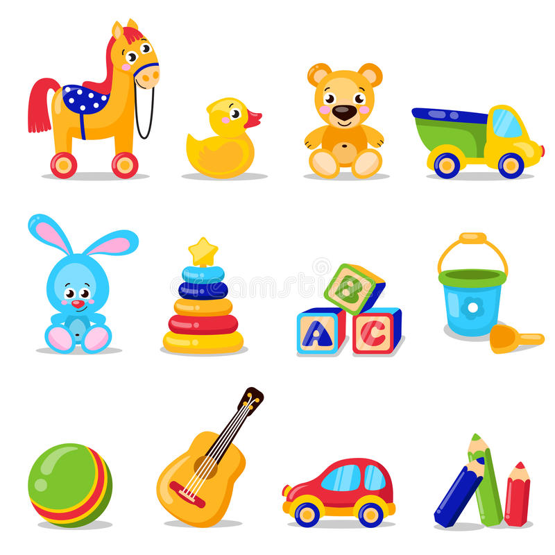 Παιχνίδια καθορισμένα απομονωμένα στο άσπρο υπόβαθρο Συμπεριλαμβανομένου του αλόγου, teddy αρκούδα, σφαίρα, παιχνίδια κύβων απεικόνιση αποθεμάτων