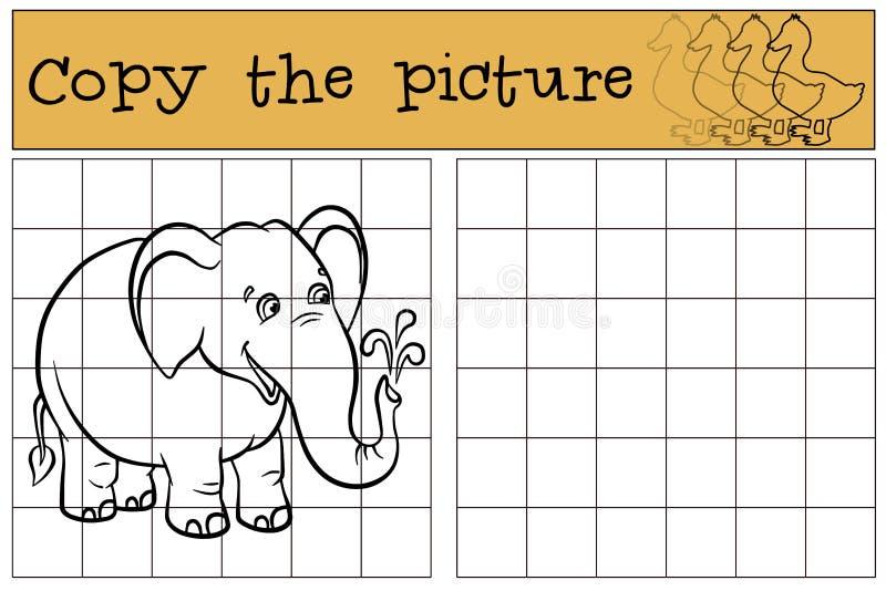 Παιχνίδια παιδιών: Αντιγράψτε την εικόνα χαριτωμένος ελέφαντας λίγα διανυσματική απεικόνιση
