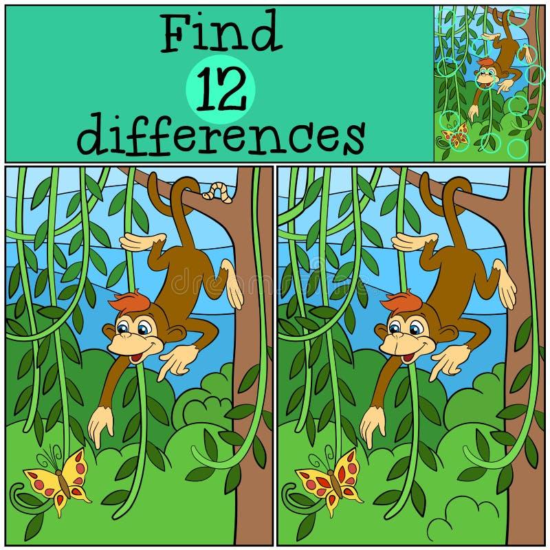 Παιχνίδια παιδιών: Βρείτε τις διαφορές Λίγος χαριτωμένος πίθηκος ελεύθερη απεικόνιση δικαιώματος