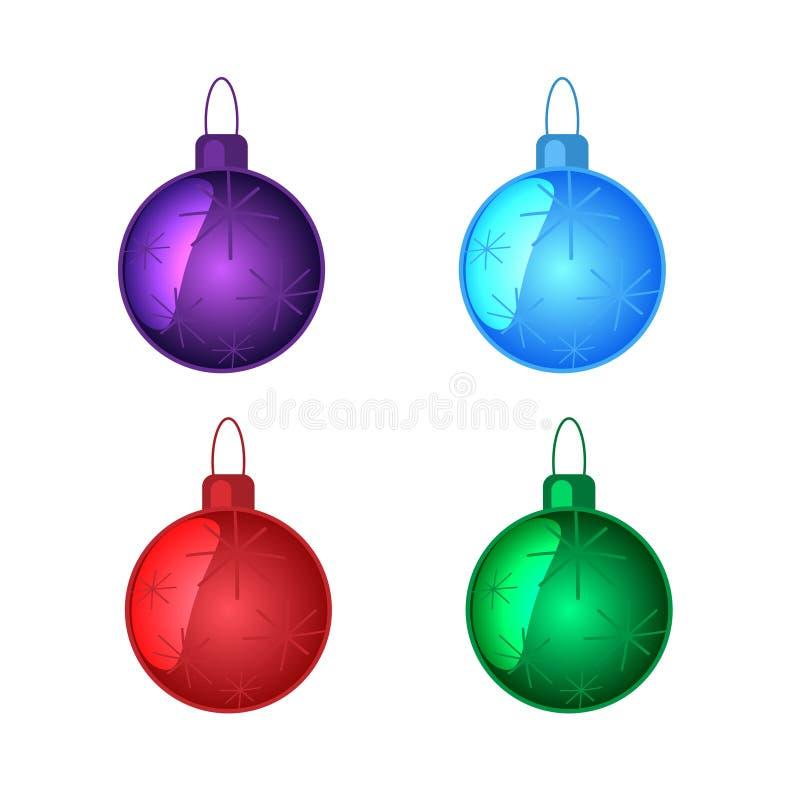 Παιχνίδια Χριστουγέννων καθορισμένα πολύχρωμα διανυσματική απεικόνιση