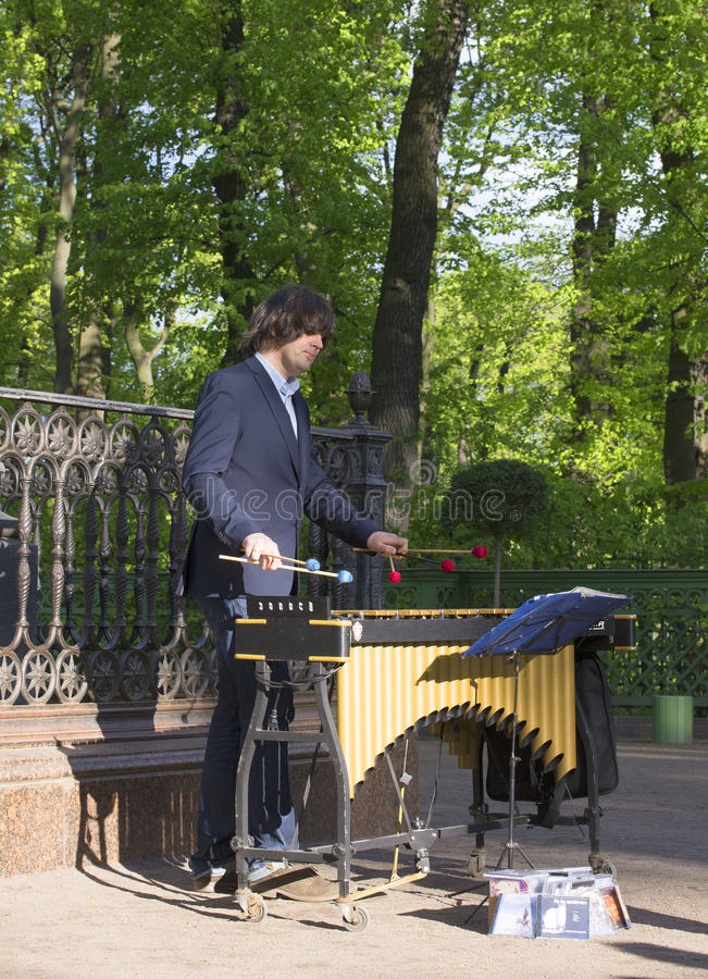 Παιχνίδια Alexey Chizhik μουσικών και συνθετών στο vibraphone στο θερινό κήπο Αγία Πετρούπολη στοκ φωτογραφίες